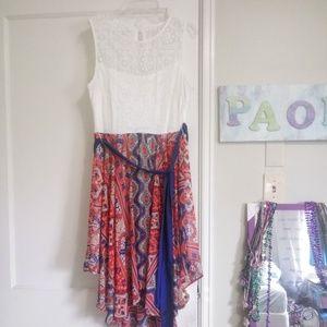 Bisou Bisou White and Orange High-low dress